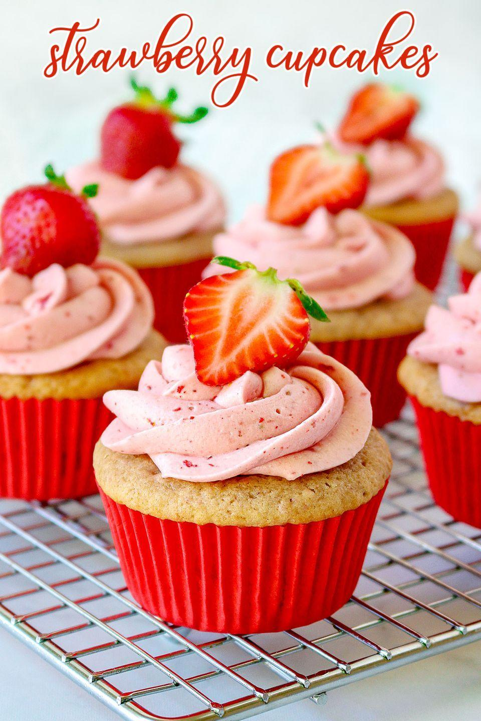 """<p>Juicy fresh strawberries scream summer! These cupcakes have both a homemade strawberry cake <em>and</em> a strawberry cream cheese frosting for extra berry flavor.<strong><br><br>Get the recipe at <a href=""""https://www.glorioustreats.com/strawberry-cupcakes/"""" rel=""""nofollow noopener"""" target=""""_blank"""" data-ylk=""""slk:Glorious Treats"""" class=""""link rapid-noclick-resp"""">Glorious Treats</a>.</strong></p><p><a class=""""link rapid-noclick-resp"""" href=""""https://go.redirectingat.com?id=74968X1596630&url=https%3A%2F%2Fwww.walmart.com%2Fsearch%2F%3Fquery%3DCOOLING%2BRACKS&sref=https%3A%2F%2Fwww.thepioneerwoman.com%2Ffood-cooking%2Frecipes%2Fg36343624%2F4th-of-july-cupcakes%2F"""" rel=""""nofollow noopener"""" target=""""_blank"""" data-ylk=""""slk:SHOP COOLING RACKS"""">SHOP COOLING RACKS</a></p>"""