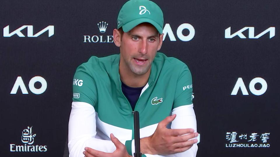 Novak Djokovic (pictured) discussing quarantine with reporters at a press conference.