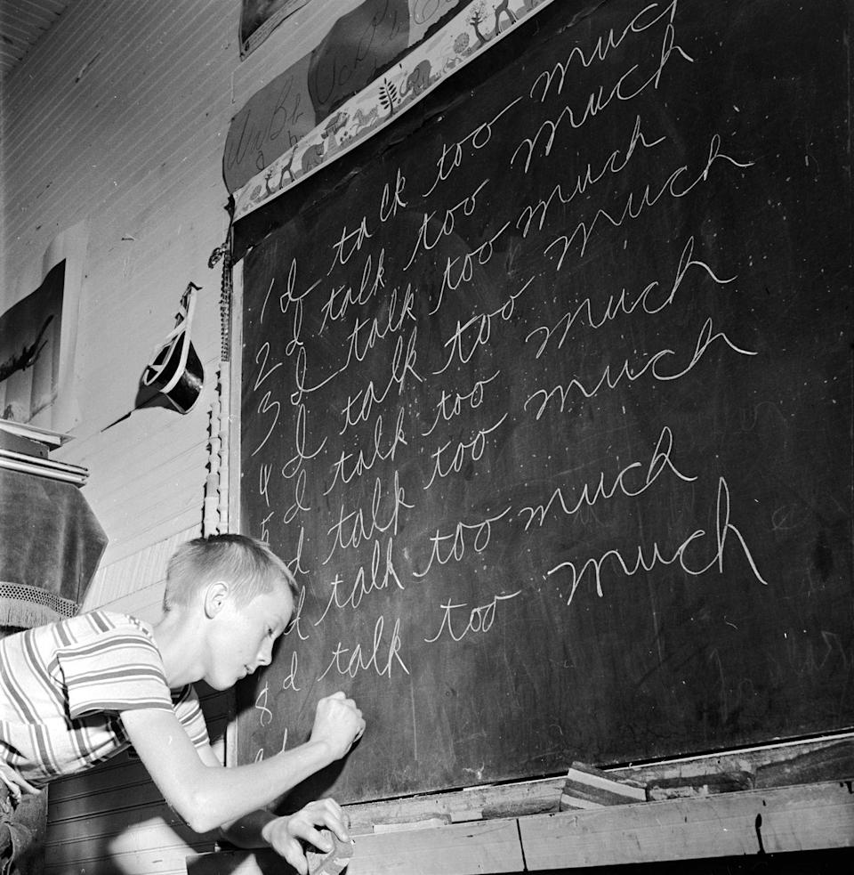 """<p>Writing lines on the chalkboard (""""I will not talk or pass notes in class"""") is a punishment of the past.<br></p>"""