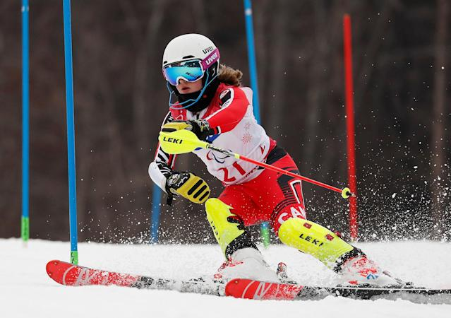 Alpine Skiing - Pyeongchang 2018 Winter Paralympics - Women's Slalom - Standing - Run 1 - Jeongseon Alpine Centre - Jeongseon, South Korea - March 18, 2018 - Mel Pemble of Canada. REUTERS/Paul Hanna