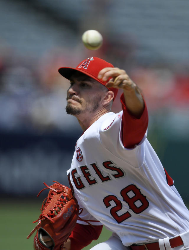 Los Angeles Angels starting pitcher Andrew Heaney throws to the plate during the first inning of a baseball game against the Boston Red Sox, Sunday, Sept. 1, 2019, in Anaheim, Calif. (AP Photo/Mark J. Terrill)