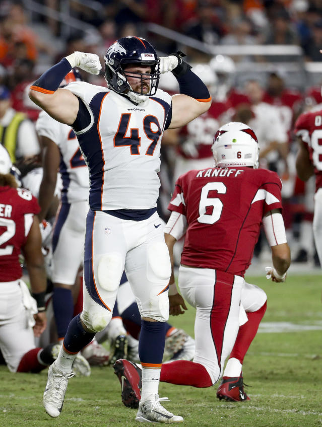 Denver Broncos linebacker Marcus Rush celebrates after sacking Arizona Cardinals quarterback Chad Kanoff during the second half of a preseason NFL football game Thursday, Aug. 30, 2018, in Glendale, Ariz. (AP Photo/Matt York)