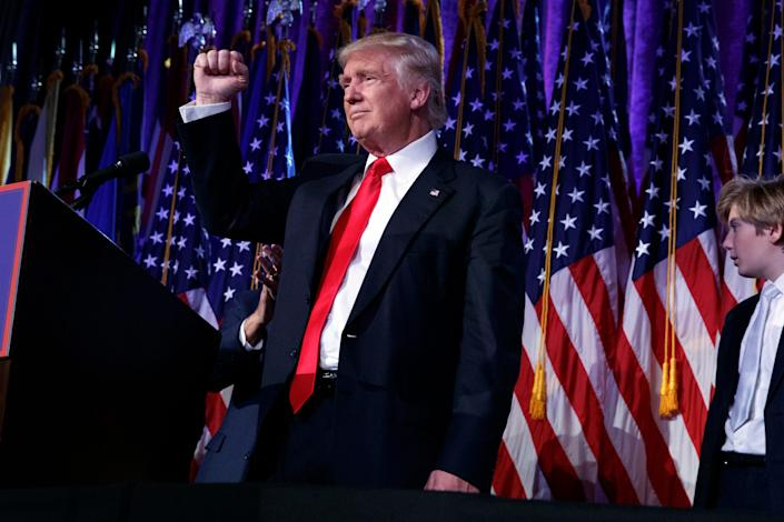 President-elect Donald Trump pumps his fist during an election night rally on Nov. 9, 2016, in New York.