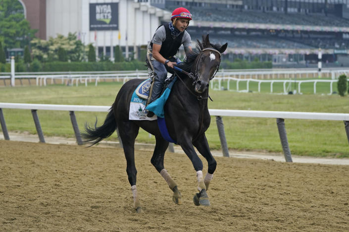 Rock Your World trains ahead of the 153rd running of the Belmont Stakes horse race in Elmont, N.Y., Thursday, June 3, 2021. (AP Photo/Seth Wenig)