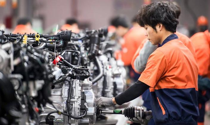 A car engine assembly plant in China.