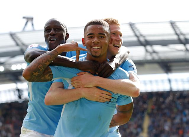 Gabriel Jesus celebrates scoring Manchester City's second goal