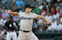 Miami Marlins starting pitcher Zac Gallen delivers during the first inning of a baseball game against the Chicago White Sox Wednesday, July 24, 2019, in Chicago. (AP Photo/Charles Rex Arbogast)