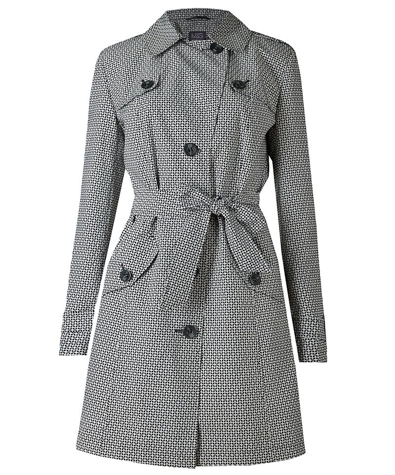 """<p> </p>  <p>High street style from across the pond--this coat from beloved British brand Marks & Spencer has a graphic black and white print that's perfect for perking up dreary days.</p>  <p><strong>To buy:</strong> $69, <a rel=""""nofollow"""" href=""""http://www.marksandspencerlondon.com/us/printed-trench-coat-with-stormwear%E2%84%A2/p/P22491560.html?referrer=LinkShareUS&extid=af_rakuten_313970_USA_enJ84DHJLQkR4-Z4FY9GGvD0ZNH.93csAvjg&dwvar_P22491560_color=ZZ"""">marksandspencerlondon.com</a>.</p>"""