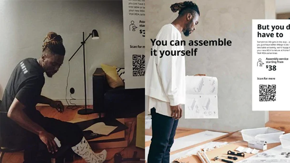 Image of Black model (left) with serial number on shirt, offensive detail, and right replacement image of same model in white jumper IKEA 2021 catalogue
