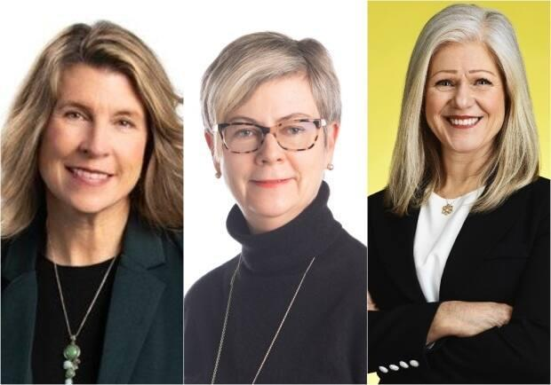 Kate Rogers, left, was elected mayor of Fredericton, Donna Reardon, centre, was elected mayor of Saint John, and Dawn Arnold, right, was re-elected mayor of Moncton. (Facebook - image credit)