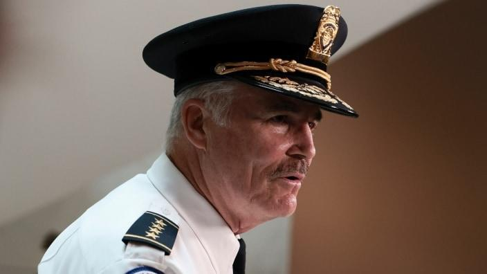 """U.S. Capitol Police Chief J. Thomas Manger speaks to reporters Monday after a classified briefing with congressional leaders on the security preparations for this weekend's """"Justice for J6"""" rally on Capitol Hill. (Photo by Anna Moneymaker/Getty Images)"""