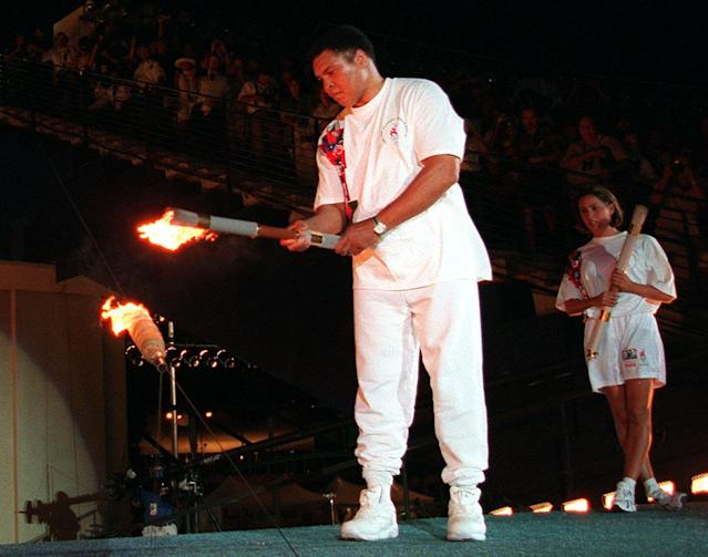 Muhammad Ali lighting the final Olympic torch in Atlanta in 1996 was a seminal moment for the Summer Olympics. (AP)