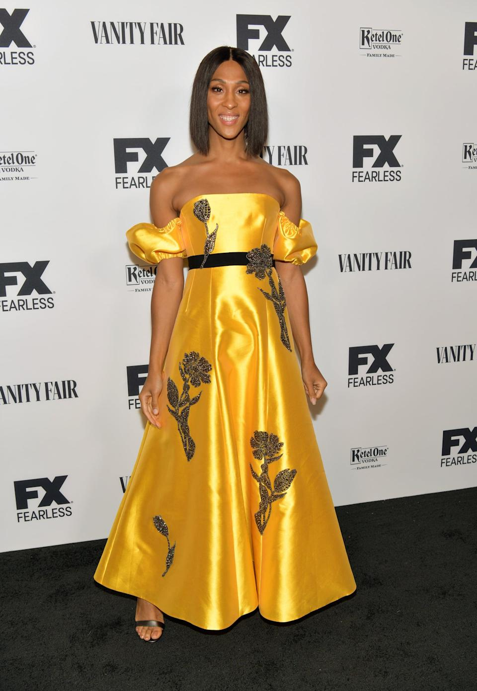 <p>Mj let a pair of Christian Louboutin sandals peek out from under her regal midi dress at the 2019 Emmy Nominations Party in CA.</p>