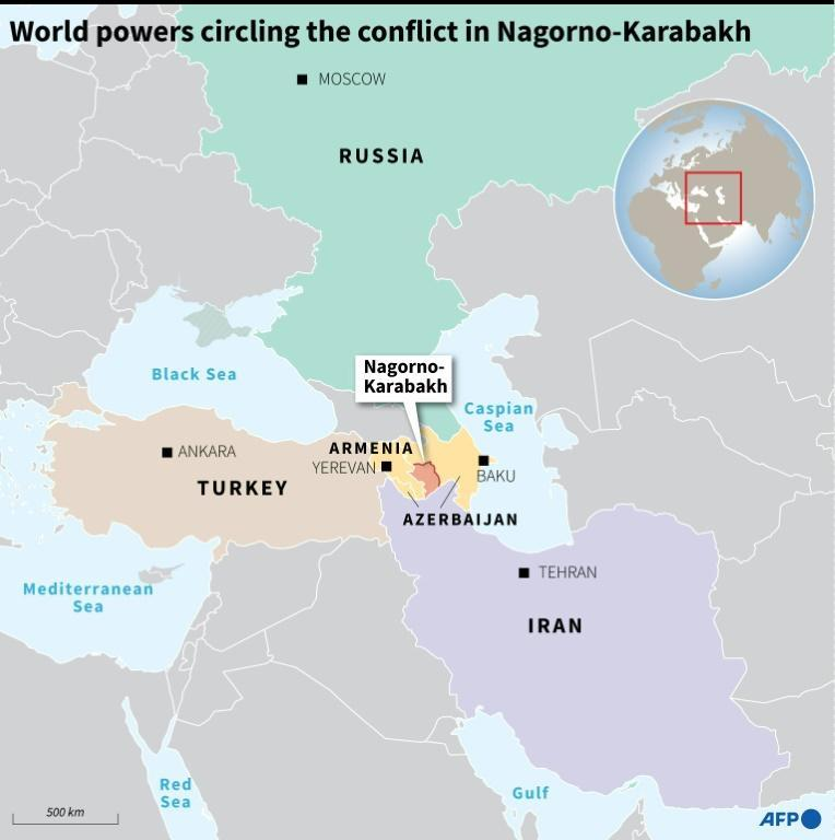 Map showing the Nagorno-Karabakh conflict zone and surrounding powers.