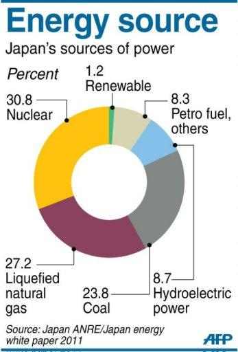 Chart on Japan's energy sources, showing nuclear power generating 30% in 2010. A reactor in western Japan resumed full operation on Monday, the first to restart since the country shut down its atomic power plants following the Fukushima disaster last year