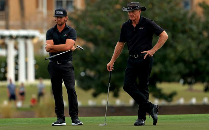 Greg Norman and son Greg Norman Jnr during the final round of the PNC Championship in Orlando, Florida - Mike Ehrmann/Getty Images