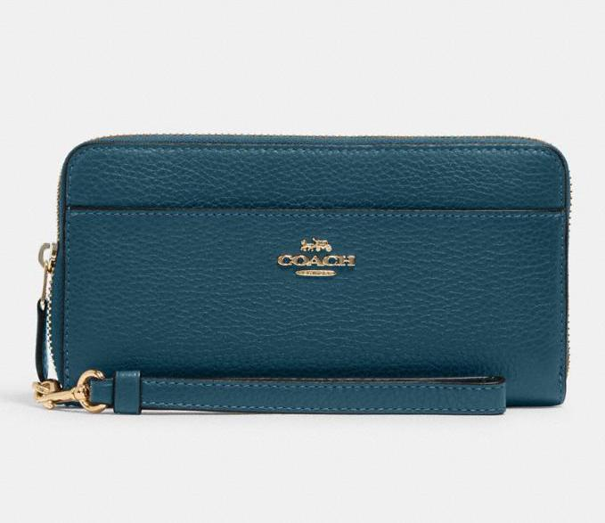 Accordion Zip Wallet With Wristlet Strap. Image via Coach Outlet.