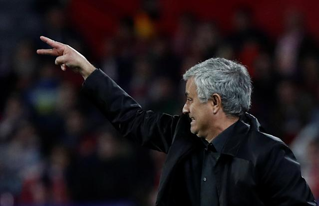 Soccer Football - Champions League Round of 16 First Leg - Sevilla vs Manchester United - Ramon Sanchez Pizjuan, Seville, Spain - February 21, 2018 Manchester United manager Jose Mourinho gestures REUTERS/Juan Medina