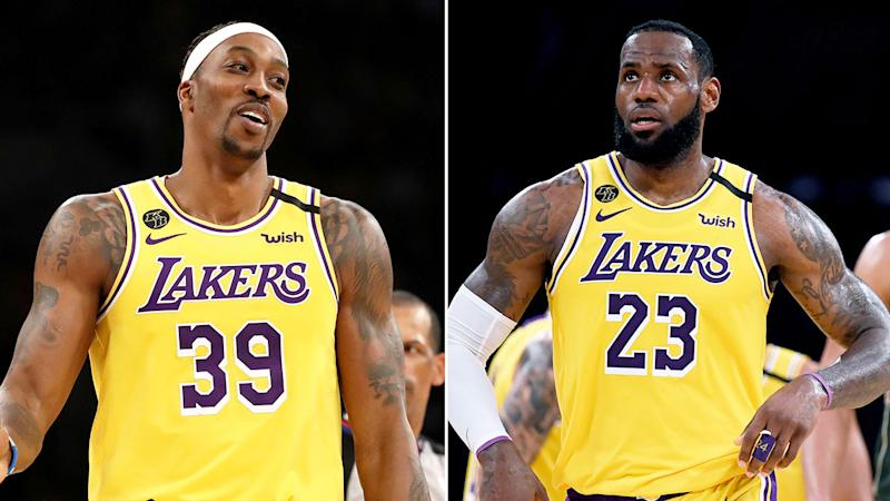 Seen here, Los Angeles Lakers stars Dwight Howard and LeBron James.