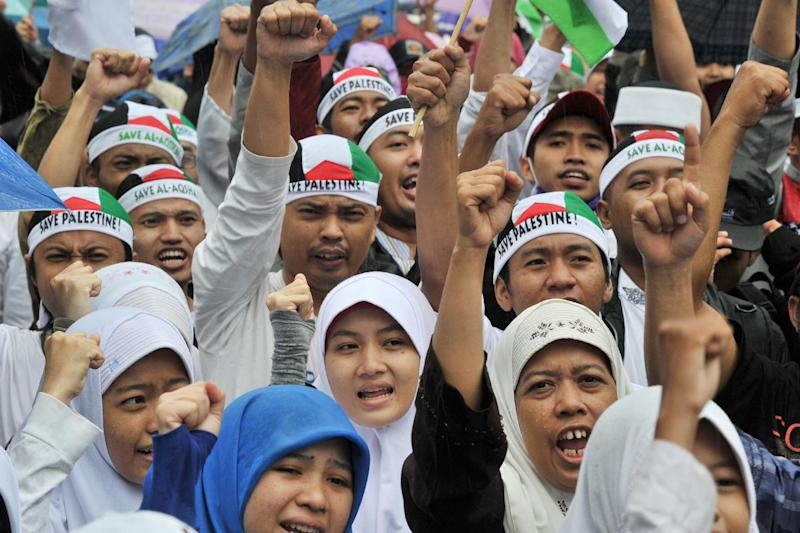 Indonesian Muslims attend a rally in Jakarta on July 13, 2014 to support Palestinians (AFP Photo/Adek Berry)