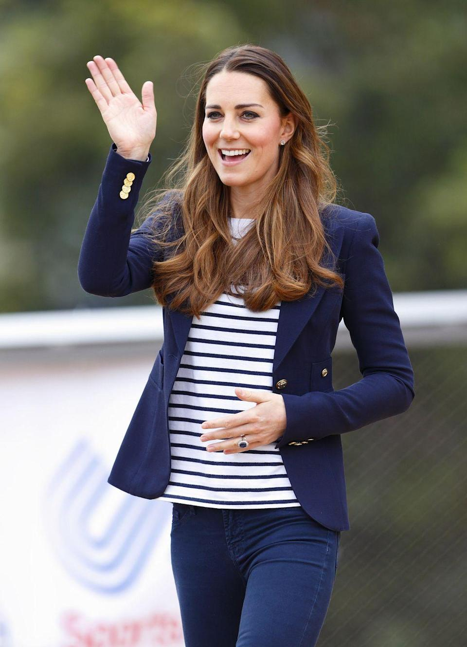 <p>Kate Middleton attended a SportsAid Athlete Workshop in October 2018 wearing a nautical outfit with a navy blazer. </p>