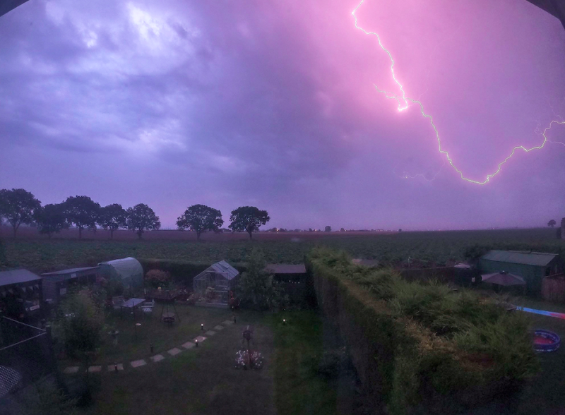 Lightning striking as a thunder storm passes over Holbeach St Marks in Lincolnshire (Twitter/@wiker_1971/PA)