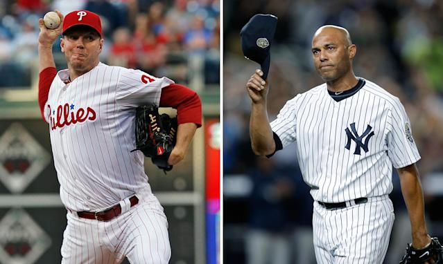 Roy Halladay and Mariano Rivera are the top newcomers on the 2019 Hall of Fame ballot. (AP)