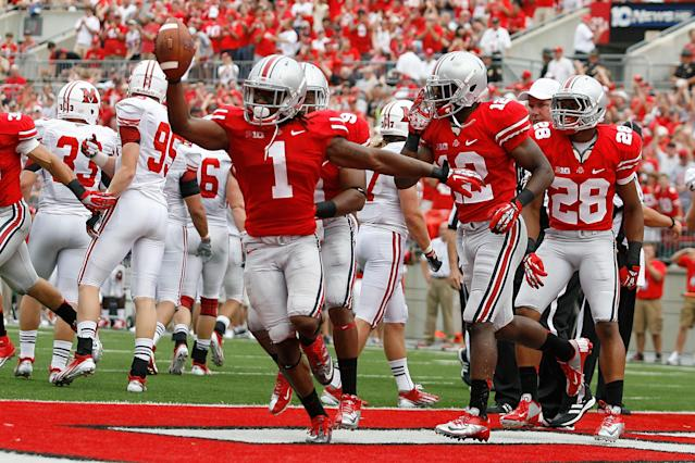 COLUMBUS, OH - SEPTEMBER 1: Bradley Roby #1 of the Ohio State Buckeyes celebrates scoring a touchdown after Zac Murphy #45 of the Miami Redhawks fumbled a punt during the third quarter on September 1, 2012 at Ohio Stadium in Columbus, Ohio. Ohio State defeated Miami 56-10. (Photo by Kirk Irwin/Getty Images)
