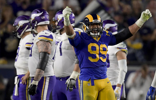 Los Angeles Rams defensive tackle Aaron Donald is making a case for NFL MVP. (AP)
