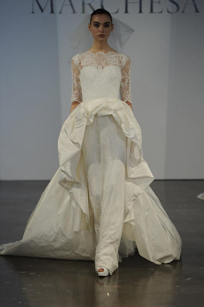 """<div class=""""caption-credit""""> Photo by: MCV Photo / The Knot</div><b>An Extreme Peplum</b> <br> This Marchesa gown takes the high-low hem trend to the extreme with a supershort peplum front and a long train in the back -- ball gown and sheath in one! <br> <a rel=""""nofollow noopener"""" href=""""http://www.theknot.com/weddings/album/30-new-wedding-hairstyles%21-73399?cm_mmc=TKInline-_-Yahooshine-_-10%20Outrageous%20New%20Wedding%20Dresses%20and%20Accessories-_-30%20hairstyles%20you%20should%20steal"""" target=""""_blank"""" data-ylk=""""slk:30 hairstyles you should steal"""" class=""""link rapid-noclick-resp""""><b>30 hairstyles you should steal</b></a>"""