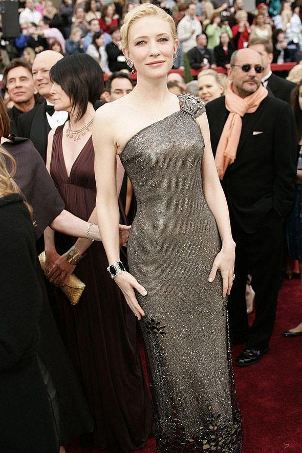 <p>At the 2007 Oscars, Blanchett wore a one-shouldered silver Armani Prive dress. All that shimmer (from Swarovski crystals) was worth $200,000. </p>