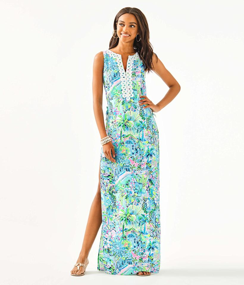 """<p><strong>lilly pulitzer</strong></p><p>lillypulitzer.com</p><p><a href=""""https://go.redirectingat.com?id=74968X1596630&url=https%3A%2F%2Fwww.lillypulitzer.com%2Fdonna-maxi-romper%2F000188.html&sref=https%3A%2F%2Fwww.townandcountrymag.com%2Fstyle%2Ffashion-trends%2Fg31940461%2Flilly-pulitzer-sale-march-2020%2F"""" target=""""_blank"""">Shop Now</a></p><p>$184</p><p><em>Original Price: $248</em></p>"""