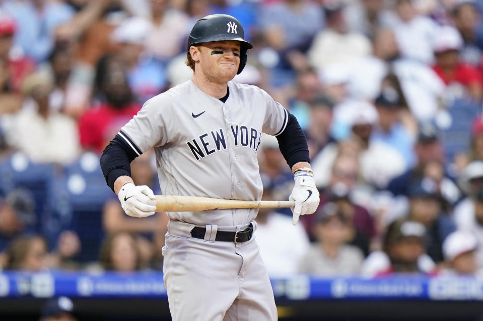 New York Yankees' Clint Frazier reacts after striking out against Philadelphia Phillies pitcher Aaron Nola during the eighth inning of a baseball game, Sunday, June 13, 2021, in Philadelphia. (AP Photo/Matt Slocum)