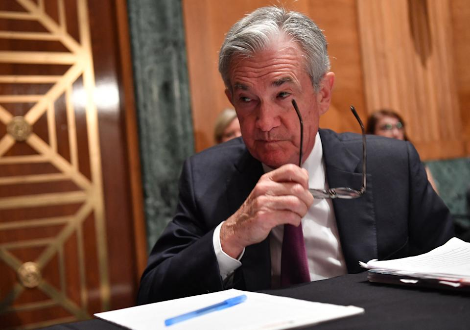 US Federal Reserve Chairman Jerome Powell prepares to testify before a Senate Banking, Housing and Urban Affairs Committee hearing, on Capitol Hill in Washington, DC, July 15, 2021. (Photo by Nicholas Kamm / AFP) (Photo by NICHOLAS KAMM/AFP via Getty Images)