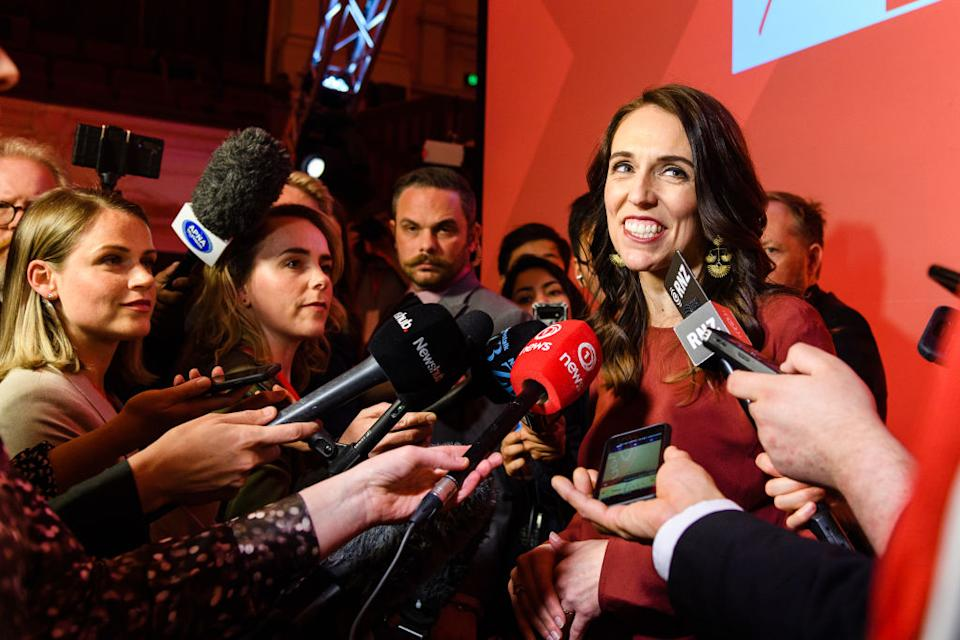 Jacinda Ardern, New Zealand's prime minister, speaks to members of the media after an election night event at Auckland Town Hall in Auckland. Source: Getty