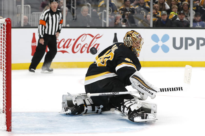 Boston Bruins goaltender Tuukka Rask makes a save against the Arizona Coyotes during the second period of an NHL hockey game Saturday, Feb. 8, 2020, in Boston. (AP Photo/Winslow Townson)
