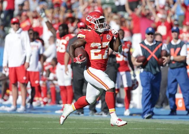 "<a class=""link rapid-noclick-resp"" href=""/nfl/players/30199/"" data-ylk=""slk:Kareem Hunt"">Kareem Hunt</a> is in a class by himself when it comes to fantasy rookies. (Getty Images)"