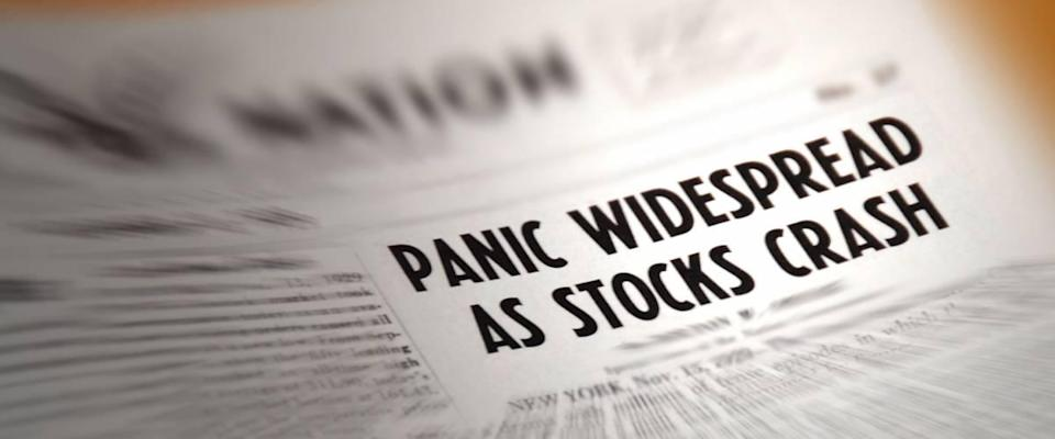 Newspaper headline warning of stock market crash