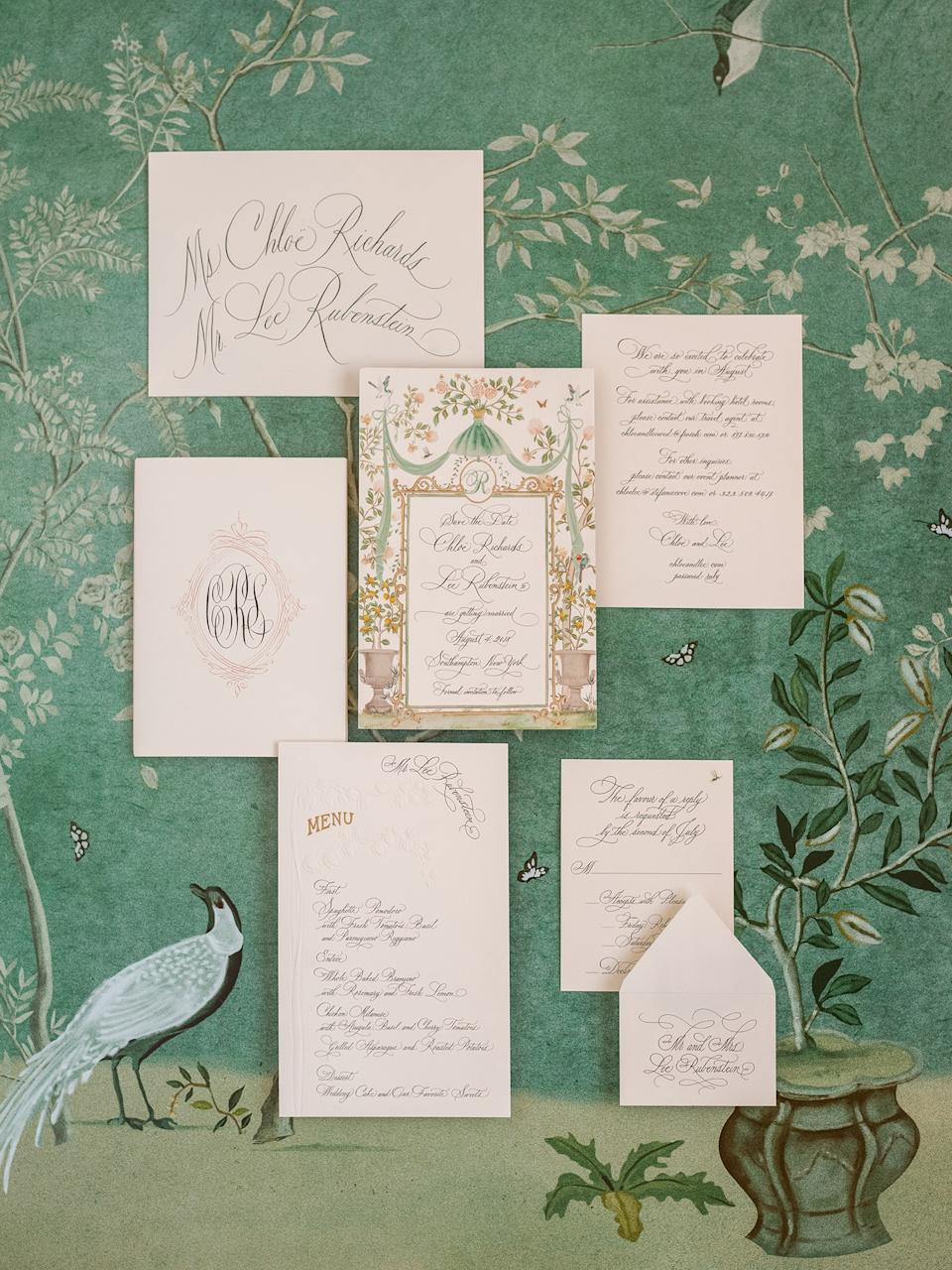 We worked with the incredibly talented team at De Gournay to create our save the dates, which helped inform the aesthetic of the paper items, ceremony, and reception decor.
