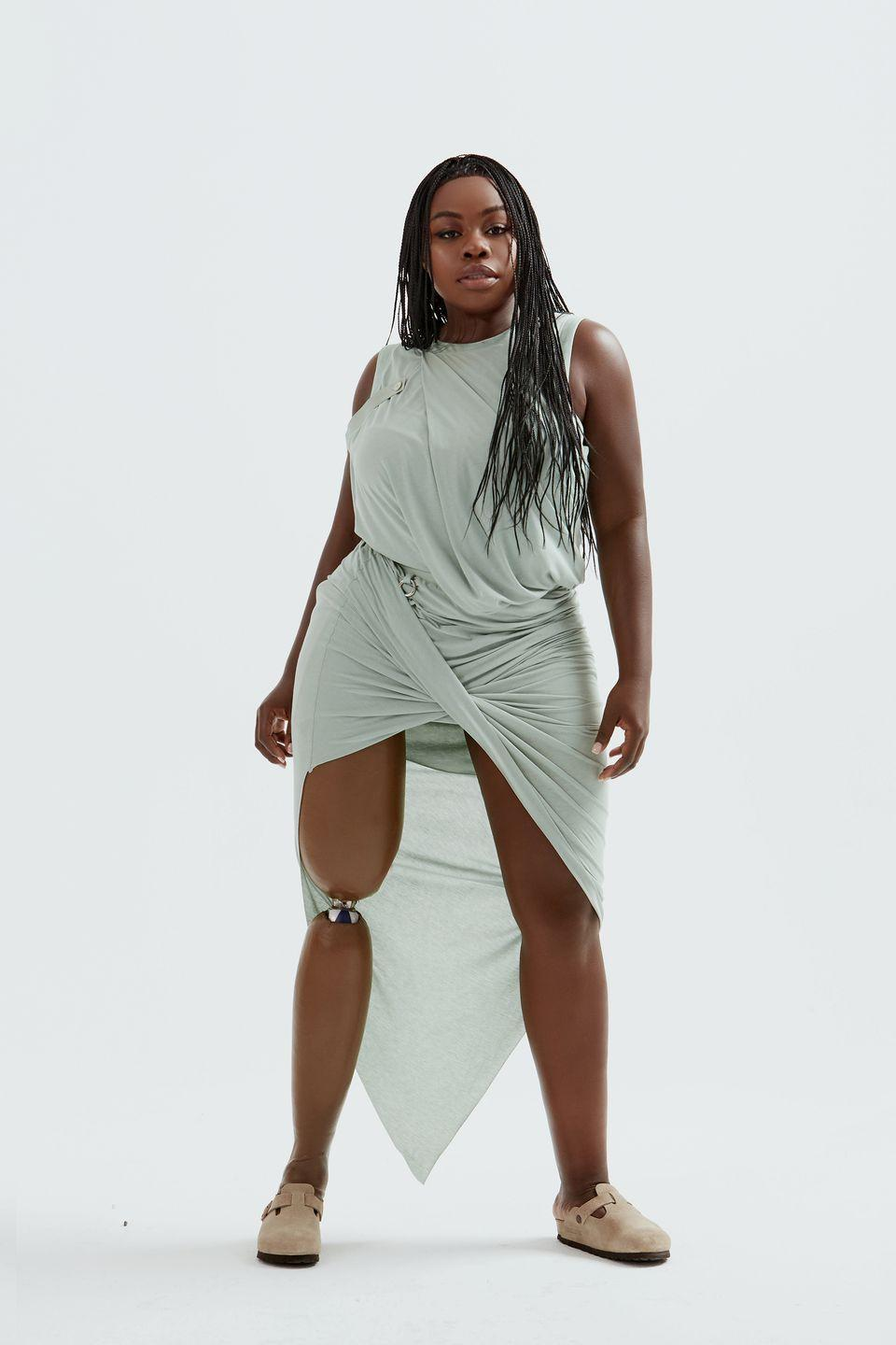 """<p>Private Policy is a label unafraid to address social issues—fall 2020 was themed around Big Pharma—but this new collection called """"Searching for Aphrodite"""" felt more immediately personal, albeit no less political. Co-designers Haoran Li and Siying Qu, who created it together while separately self-isolating in New York and Shanghai, wanted to unpack the idea of beauty and self-love. There was a new ease to the collection thanks to soft Grecian drapes and relaxed tailoring in calming shades of sage and lilac, shown on an inclusive range of modern muses, including amputee model and singer Marsha Elle and trans model and activist Dominique Castelano. <em>—Alison S. Cohn</em></p>"""