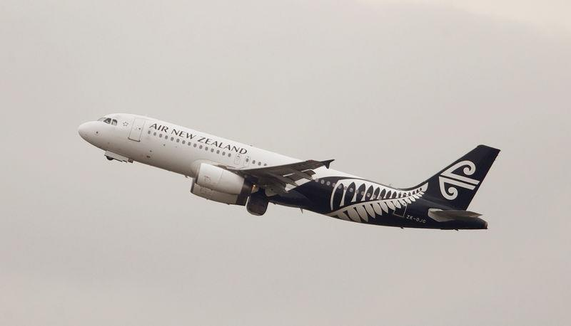 FILE PHOTO: An Air New Zealand Airbus A320 plane takes off from Kingsford Smith International Airport in Sydney