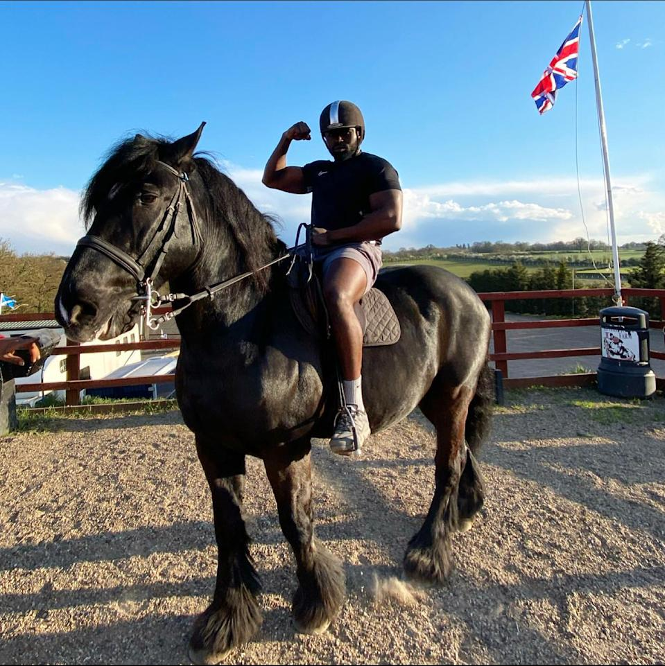The 28-year-old has incorporated horse-riding, the tube, the fruit and veg markets of Portobello and an ice cream van in his increasingly bizarre but endearing series of workouts across London.@elevation_fitnessuk