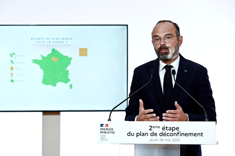 French Prime Minister Edouard Philippe speaks during a televised address to announce the second phase of the easing of lockdown measures amid the spread of the coronavirus disease (COVID-19) from June 2, at the Hotel Matignon in Paris, France May 28, 2020. Philippe Lopez/Pool via REUTERS