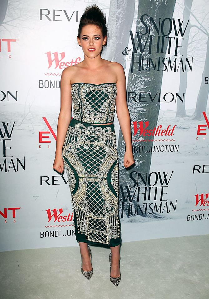 "And last but not least there's Kristen Stewart, who, like Keira Knightley, delivered somewhat of a polarizing look this week. In our book, an envelope-pushing outfit can be a good thing, and that's how we happen to feel about the interesting, two-piece Balmain dress she wore while promoting <a target=""_blank"" href=""http://movies.yahoo.com/movie/snow-white-and-the-huntsman/"">""Snow White""</a> in Sydney. But, we're sure many of you won't take a liking to her embroidered bustier and skirt ... or to her slightly disheveled updo. Luckily, we don't have to agree. (6/19/2012)<br><br><a target=""_blank"" href=""http://bit.ly/lifeontheMlist"">Follow 2 Hot 2 Handle creator, Matt Whitfield, on Twitter!</a><br><br><a target=""_blank"" href=""http://twitter.com/YahooOmg"">Follow omg! on Twitter!</a>"