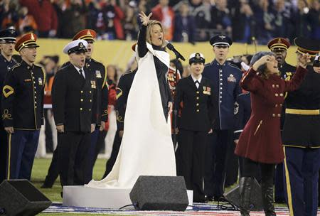 Soprano Renee Fleming sings the U.S. National Anthem prior to the NFL Super Bowl XLVIII football game between the Denver Broncos and the Seattle Seahawks in East Rutherford, New Jersey, February 2, 2014. REUTERS/Ray Stubblebine