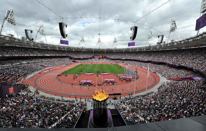 A general view of The Olympic Stadium during the Men's 400m hurdles heats at The Olympic Stadium, London. (Photo by Martin Rickett/PA Images via Getty Images)