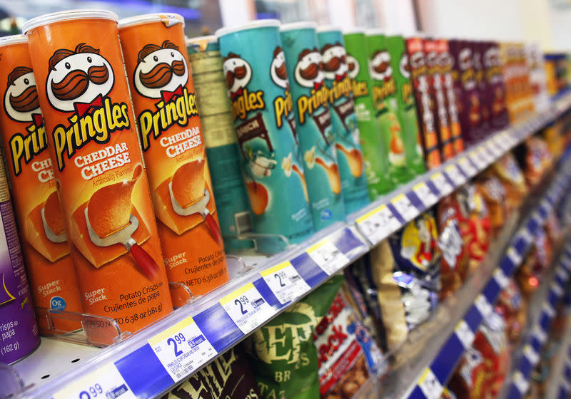 Cans of Pringles are seen on display in New York