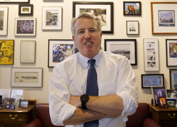 FILE - In this Feb. 8, 2017 file photo, Chicago businessman and Democratic candidate for Illinois Governor Chris Kennedy poses for a portrait in his office in Chicago. A billionaire businessman's announcement Thursday, April, 6, 2017, that he's running for Illinois governor in 2018 means there will be at least three candidates in the race who have enormous personal wealth. Democrat J.B. Pritzker jumped into the contest to try to unseat Illinois' wealthy Republican businessman-turned-governor, Bruce Rauner. Kennedy, nephew of the late President John F. Kennedy, also is seeking the Democratic nomination. (AP Photo/Charles Rex Arbogast, File)