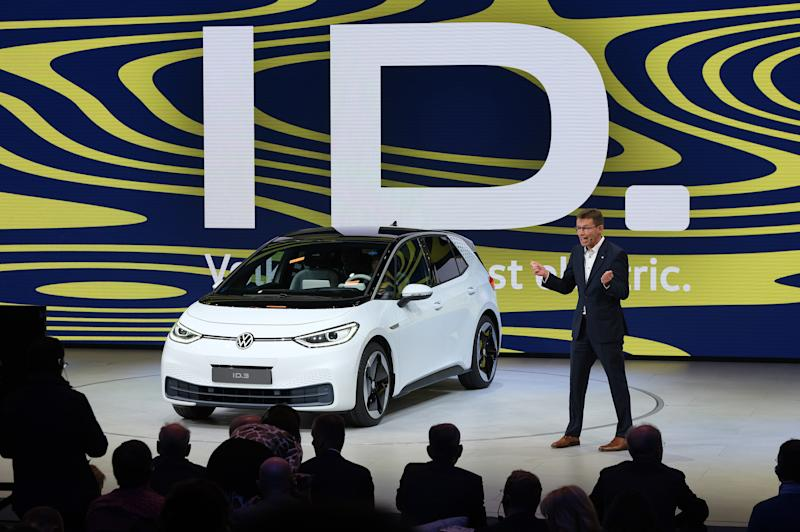 FRANKFURT AM MAIN, GERMANY - SEPTEMBER 10: Volkswagen presents the new Volkswagen ID.3 electric car at the 2019 IAA Frankfurt Auto Show on September 10, 2019 in Frankfurt am Main, Germany. The IAA will be open to the public from September 12 through 22. (Photo by Sean Gallup/Getty Images)