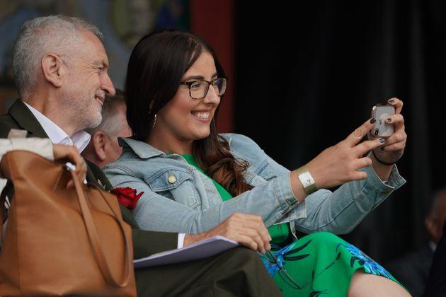 MP for North West Durham Laura Pidcock takes a selfie with Jeremy Corbyn during the Durham Miners' Gala.